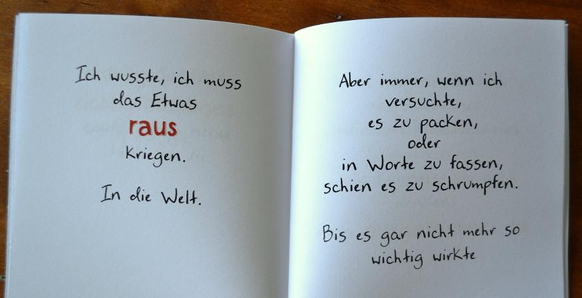 Doppelseite aus dem kleinen Buch vom kreativen Ersticken, Zacken Verlag.
