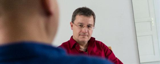 Franz Grieser beim Schreib-Coaching