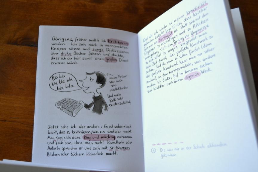 Doppelseite aus dem kleinen Buch vom Nutzen und Schaden der Kritik, Zacken Verlag.